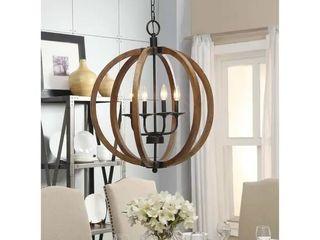 The Gray Barn Vineyard Distressed Mahogany and Bronze 4 light Globe Chandelier