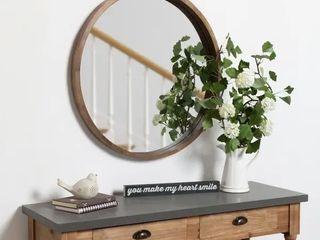 Hutton Round Decorative Wood framed Wall Mirror