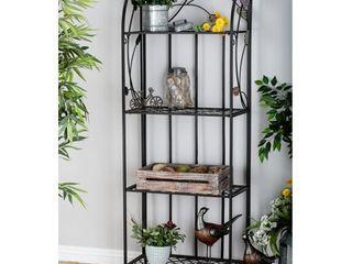 Decmode   large Indoor   Outdoor Metal Shelf with Flowers  Decorative Outdoor Shelf  Black Metal Bookshelf with 4 Shelves  Metal Shelving Unit  25  x 68