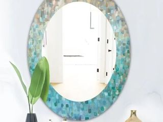 Silver Orchid Brian  Blocked Abstract  Traditional Mirror   Blue   20 in  wide x 30 in  high   Oval   Medium