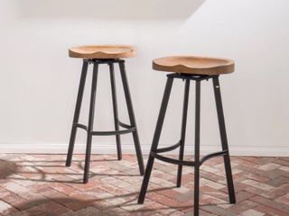 Albia Round Swivel Barstool  Set of 2  by Christopher Knight Home