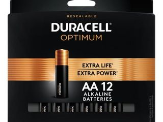 Duracell Optimum AA Batteries   12 Pack Alkaline Battery with Resealable Tray