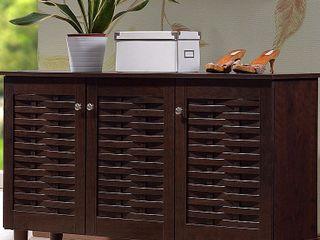 Winda Modern and Contemporary 3 Door Wooden Entryway Shoes Storage Cabinet   Dark Brown   Baxton Studio