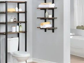 Carbon loft lawrence Metal and Solid Wood Bath Natural 36 inch Wall Shelf