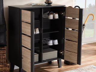 Melle Two Tone Oak and 2 Door Wood Entryway Shoe Storage Cabinet Brown   Baxton Studio