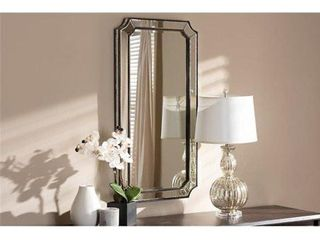 Baxton Studio RXW 8003 Romina Art Deco Antique Silver Finished Accent Wall Mirror