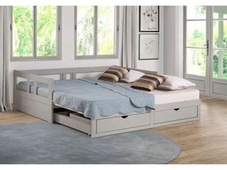 Melody Expandable Twin to King Trundle Daybed with Storage Drawers   Grey