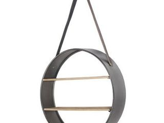 Crystal Art Gallery Metal and Wood Round Hanging Wall Shelf