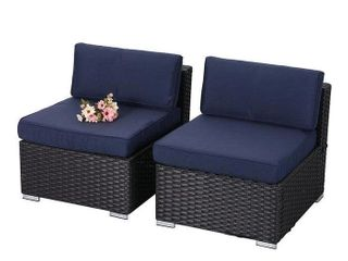PHI VIllA Outdoor Sectional Furniture 2 Piece Patio Sofa Set low Back Rattan Wicker Additional Seat  Navy Blue