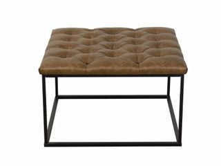 HomePop Draper Ottoman with Button Tufting   light Brown Faux leather