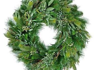 24 Inch Seeded Eucalyptus Pine Wreath