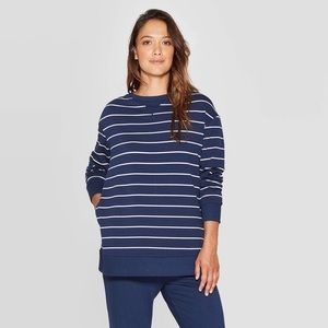Stars Above XXl Blue and White Striped Sweatshirt