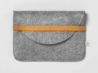 Hearth   Hand With Magnolia Felt   leather Clutch Heather Gray