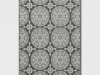 4 X5 6  Medallion Washable Tufted And Hooked Accent Rug Gray   Threshold