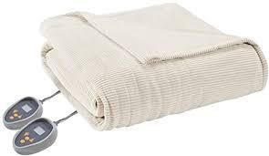 Beautyrest Heated Ribbed Micro Fleece Full Blanket in Ivory