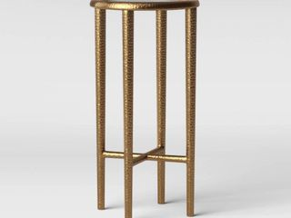 Alexandria Round Forged Brass Drink Table with Glass Top   Threshold