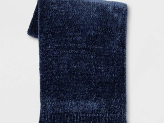 Shine Chenille Throw Blanket Navy Blue   Project 62