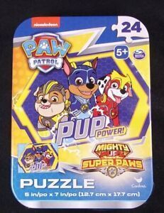 lot Of 4 Paw Patrol Mini Puzzles In Tin Mighty Pups Pup Power 24 Pcs Puzzle