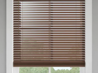 levolor Brown Walnut Faux Wood Blinds x3