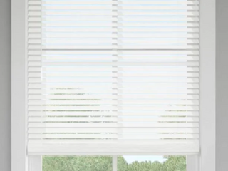 levolor Window Blinds Trim go 2 in White Faux Wood Room Darkening Blinds 43x64in