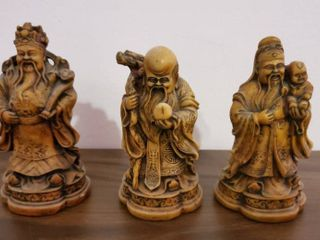 lot of 3 Hand Carved Oriental Figurines
