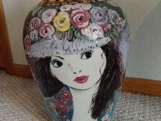 Hand Painted And Fired Ceramic Vase With Pebbles In The Top