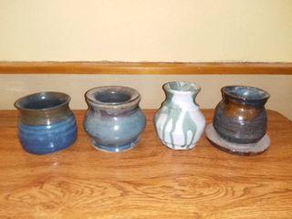 lot of 4 Handmade Ceramic Vases