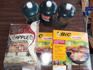 BBQ lot 3 Coleman Propane Tanks 2 Bic Flame Disk And Apple Wood Chips