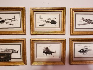 lot of 6 Prints of Aviation Art Framed Signed by JOE MIlICH