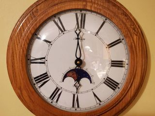 Sunbeam Roman Numeral Clock with Wooden Border   Powered by Quartz