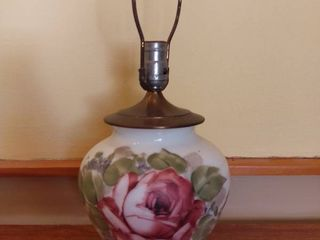 Hand Painted Antique lamp   Needs Rewired