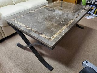 Marble Top Iron Base Coffee Table