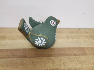 Small Hand Painted Green Bird Ornament