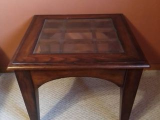 Mahogany Styles Beveled Glass Top Square Side Table