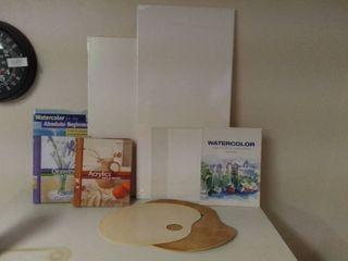 Starter Kit for Beginner Painters   4 Blank Canvas   4 Books on Painting