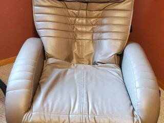 J KMD Powered By HWE Beige Pleather Electric Recliner with Massaging Functions