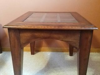 Mahogany Styled Beveled Glass Top Square Side Table