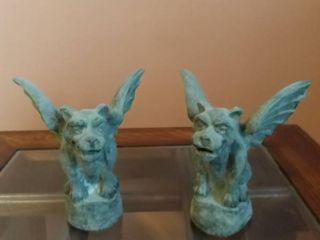 lot of 2 Small Gargoyle Stone Statues