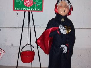 1993 Salvation Army Caroler with Belle by Byers Choice and 100 year Anniversary Sign