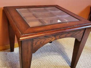 Mahogany Glass Top Side Table
