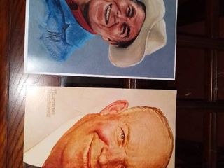 lot of 2 Prints of Norman Rockwell and Ronald Reagan
