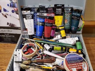 Assortment of New and Used Paint and Brushes