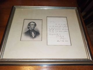 Framed Photo of Gentleman and letter Dated 1821