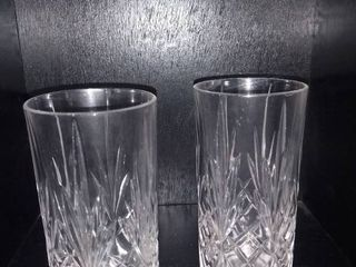 lot of 2 Etched Drinking Glasses