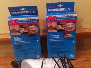 lot of 2 Aura Wonderlite 50 Watt Halogen light and Underwriters laboratories Portable lamp