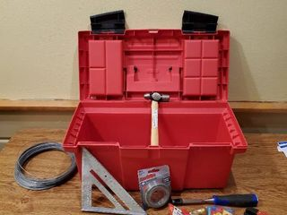 Red Keter Toolbox with Handy Man Tool lot