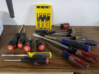 lot of Miscellaneous Screw Drivers and Bits of Various Sizes