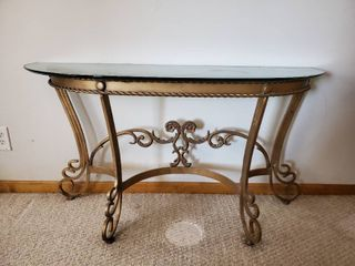 Gold Tone Iron Base Sofa Table with Glass Top