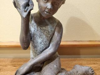 Bronze Female Child Holding Sea Shell Fountain Topper