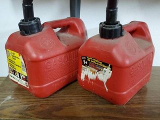 lot of Two Small Red Plastic Gas Cans